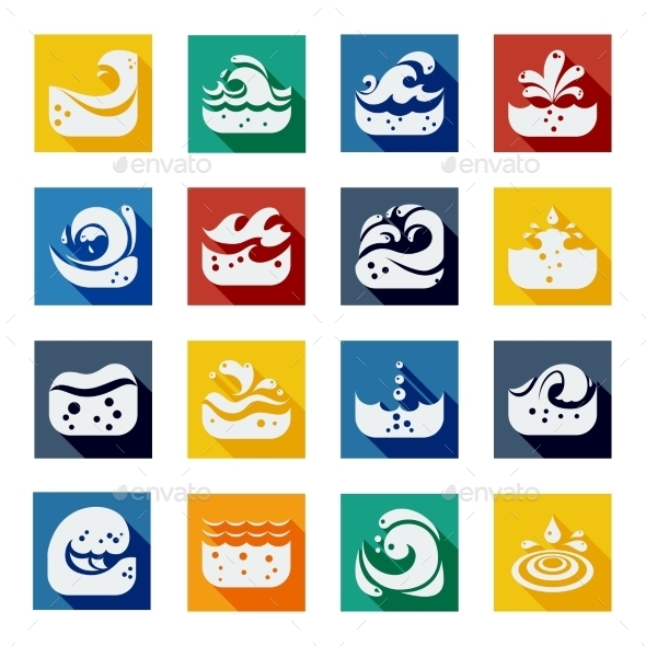 Swirling Wave Color Icons Set - Seasonal Icons