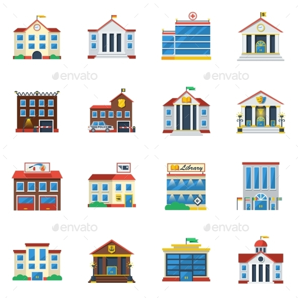 Government Buildings Flat Color Icon Set - Buildings Objects