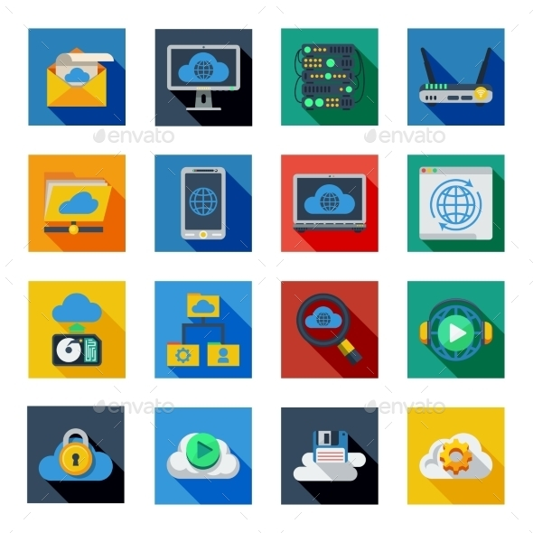 Cloud Service Icons In Colorful Squares  - Media Icons