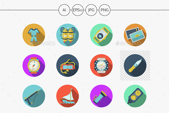 Diving outfit flat color vector icons - Man-made objects Objects