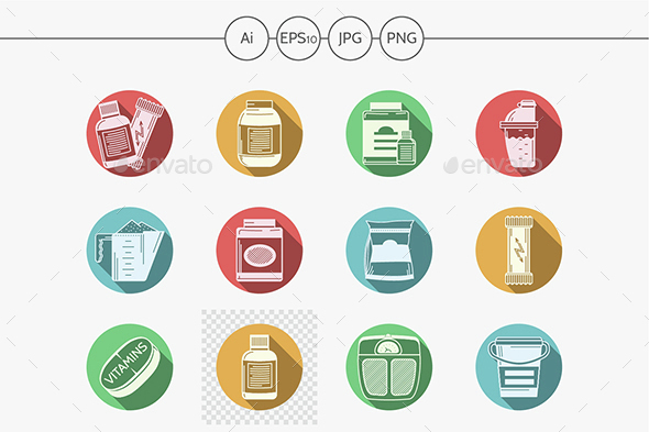 Sports diet flat color vector icons - Food Objects