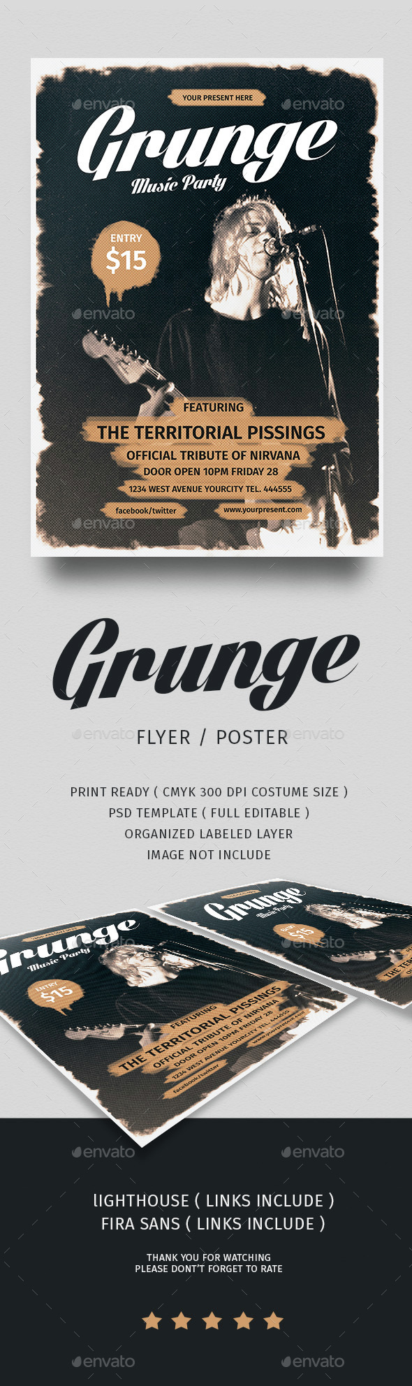 Grunge Music Flyer - Events Flyers