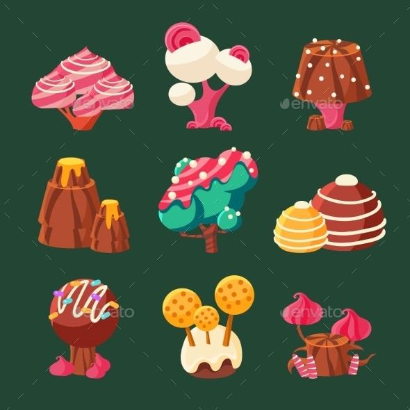 Cartoon Sweet Candy Land. Vector Illustration - Landscapes Nature