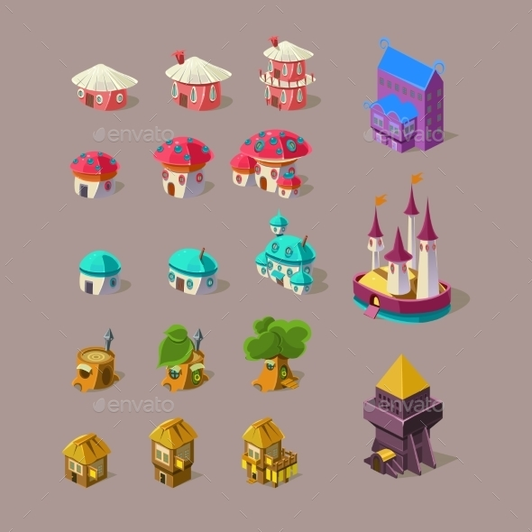Fairy House And Castle Vector Set - Buildings Objects