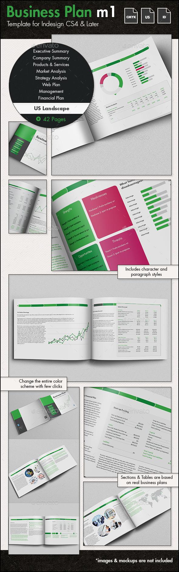 Business Plan Template m1 - US Letter Landscape - Proposals & Invoices Stationery