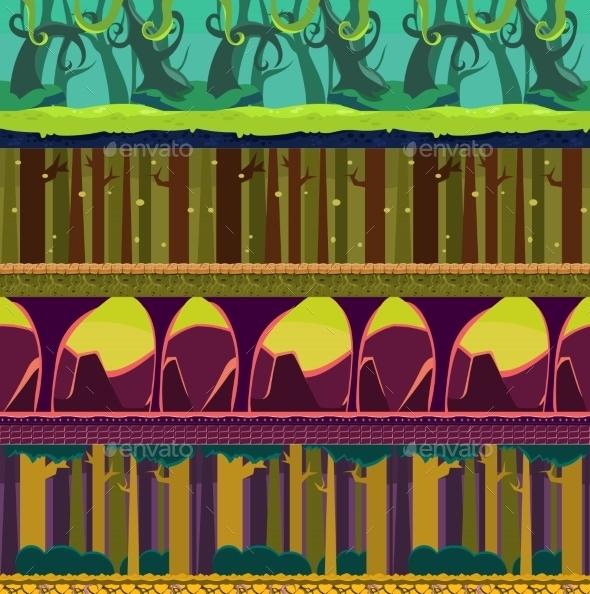 Seamless Landscape, Cartoon Fantastic Background - Landscapes Nature