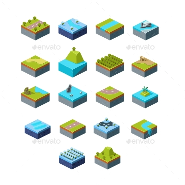 Vector Of Isometric Landscape - Objects Vectors