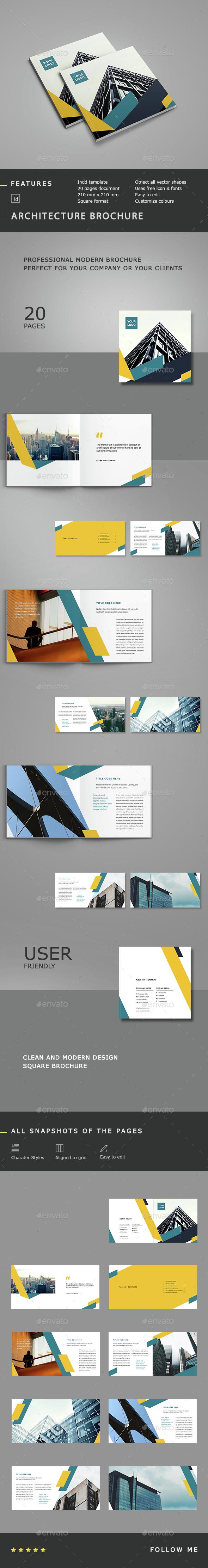 Architecture Square Brochure  - Brochures Print Templates