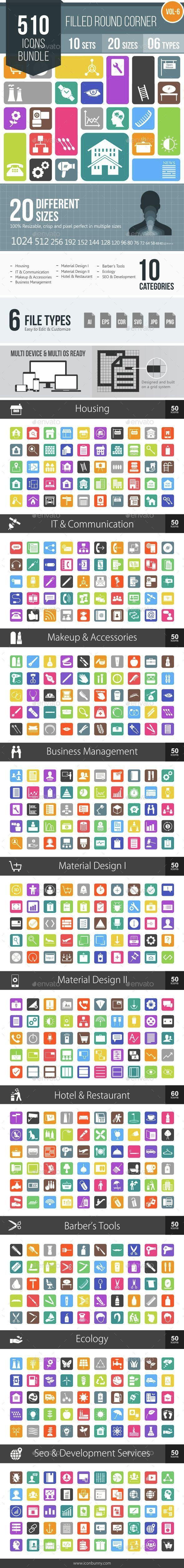 510 Vector Round Corner Colorful Flat Icons Bundle - Icons