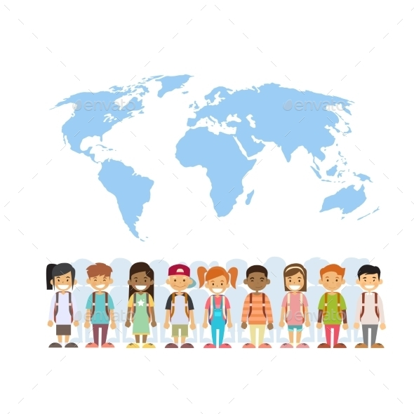 Children Mix Race Group Over World Map - People Characters