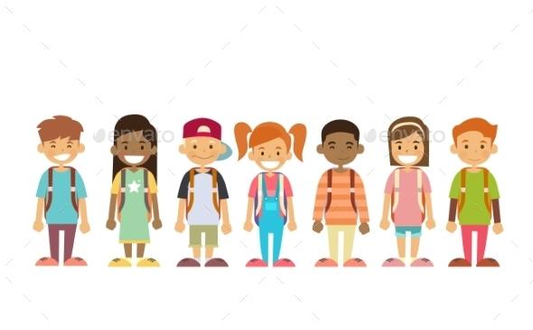 School Children Group Standing In Line  - People Characters