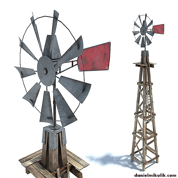 Low Poly Wild West Wind Mill - 3DOcean Item for Sale