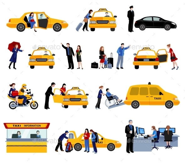 Set Of Taxi Service Icons - People Characters