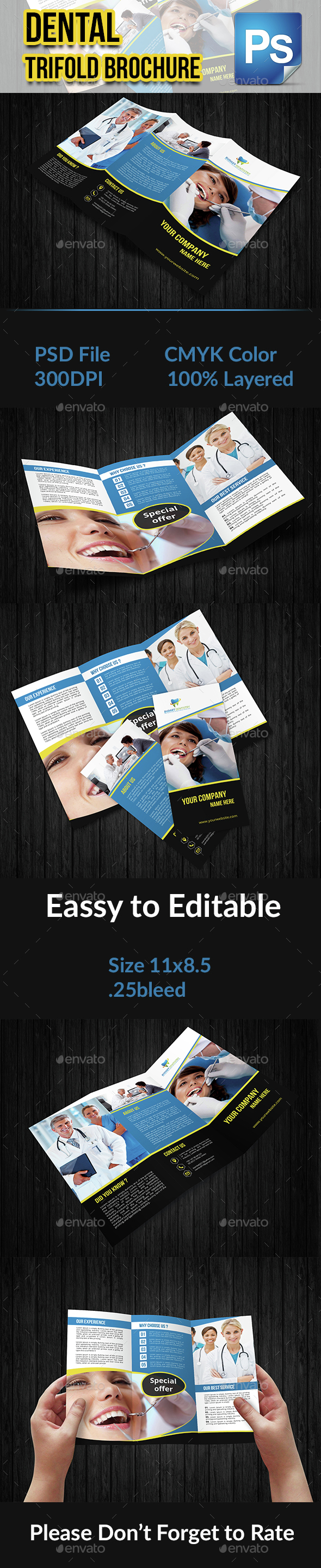 Dental Trifold Brochure Template - Brochures Print Templates