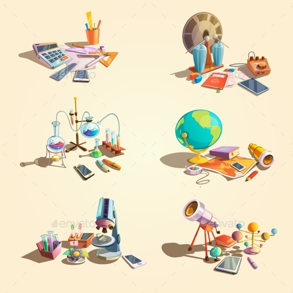 Science Retro Cartoon Set - Miscellaneous Conceptual