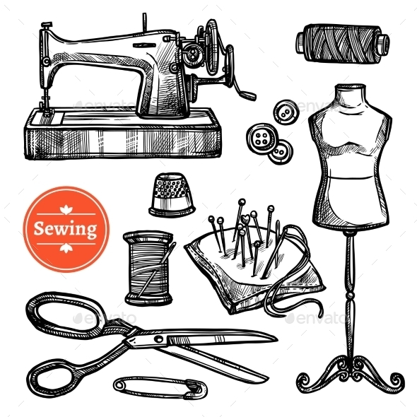 Hand Drawn Sketch Sewing Set - Decorative Symbols Decorative