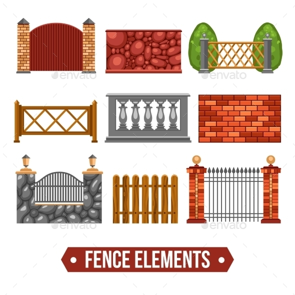 Fence Design Elements Set - Decorative Symbols Decorative