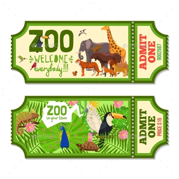 Colorful Zoo Tickets With Tropical Background   - Backgrounds Decorative