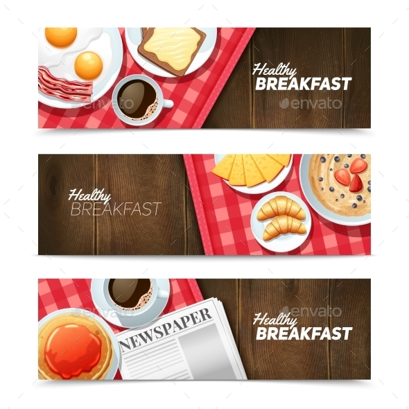 Healthy Breakfast Flat Horizontal Banners Set  - Food Objects