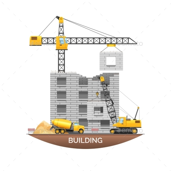 Building Construction Machinery Flat Illustration  - Buildings Objects