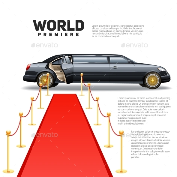 Red Carpet Limousine Colorful Picture - Miscellaneous Conceptual