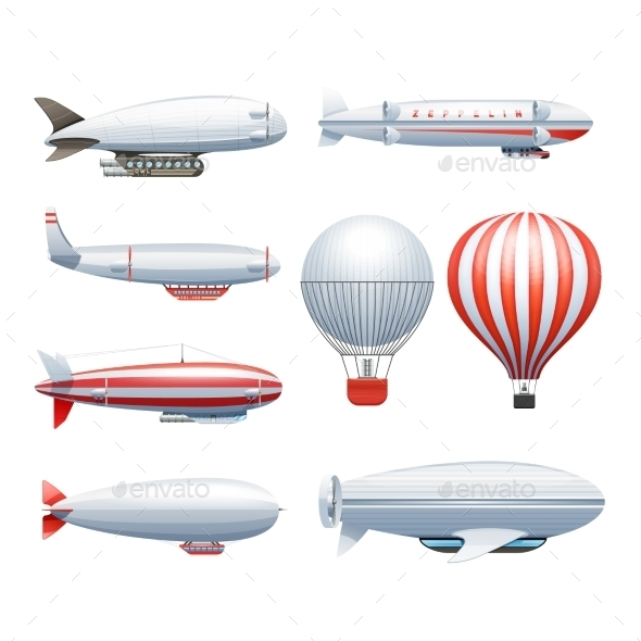 Dirigible Airship White Red Icons Set  - Travel Conceptual