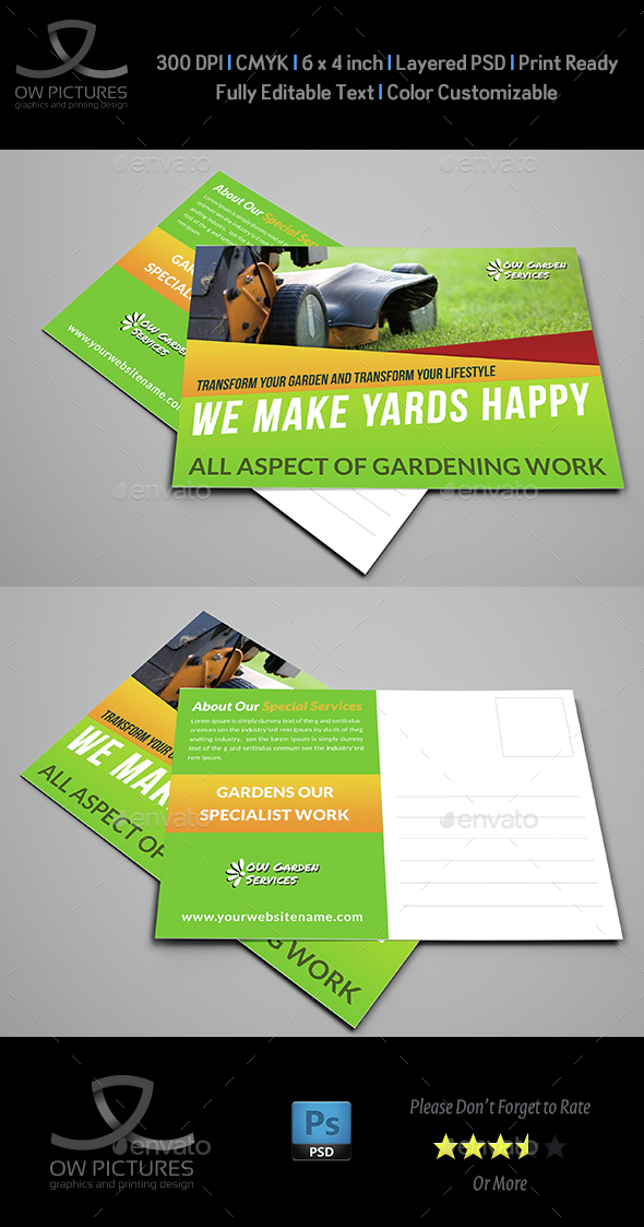 Garden Services Postcard Template - Cards & Invites Print Templates