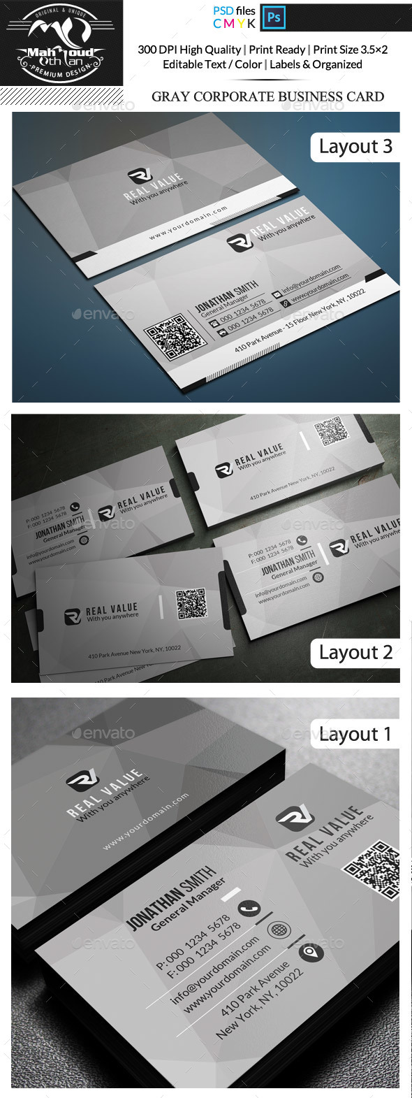 Gray Corporate Business Card - Corporate Business Cards