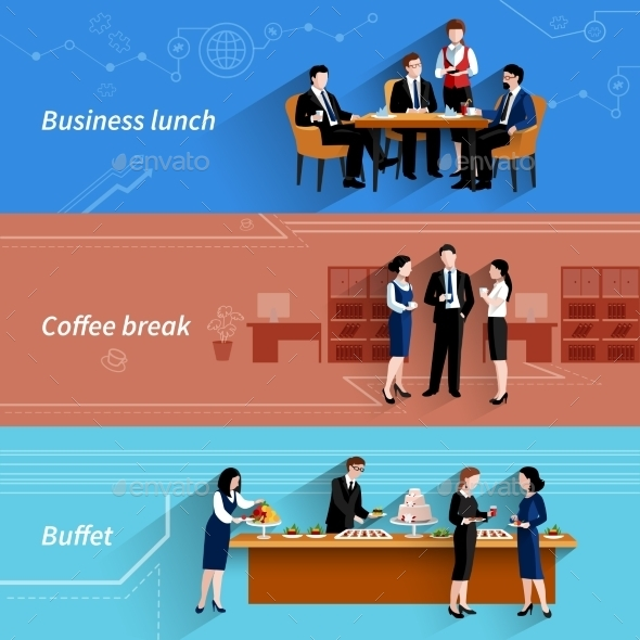 Business Lunch Flat Banners Set - Business Conceptual
