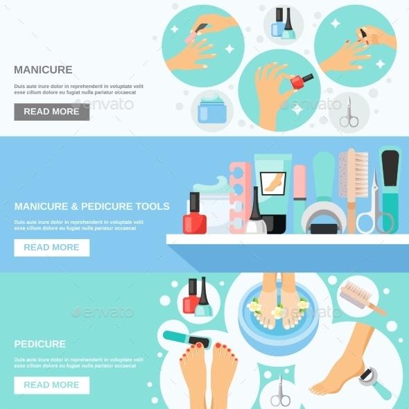 Manicure Pedicure Tools 3 Flat Banners - Conceptual Vectors