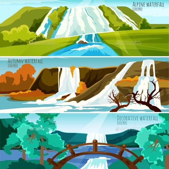 Waterfall Landscapes Banners - Landscapes Nature