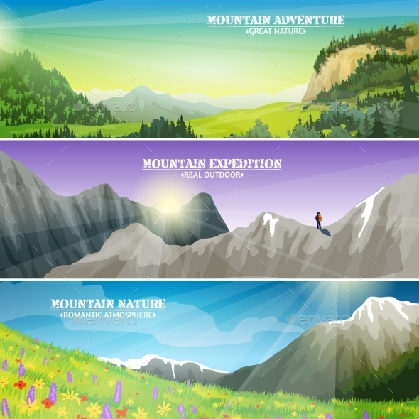 Mountains Landscape Flat Horizontal Banners Set  - Landscapes Nature