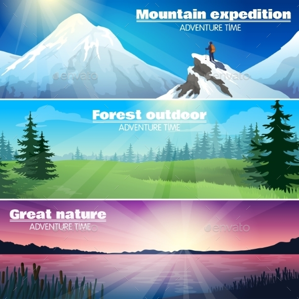 Camping Outdoor Nature Horizontal Banners Set  - Business Conceptual