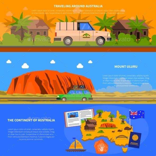 Australia Banners Set - Travel Conceptual