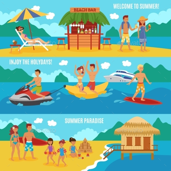 Beach People Set - Backgrounds Decorative