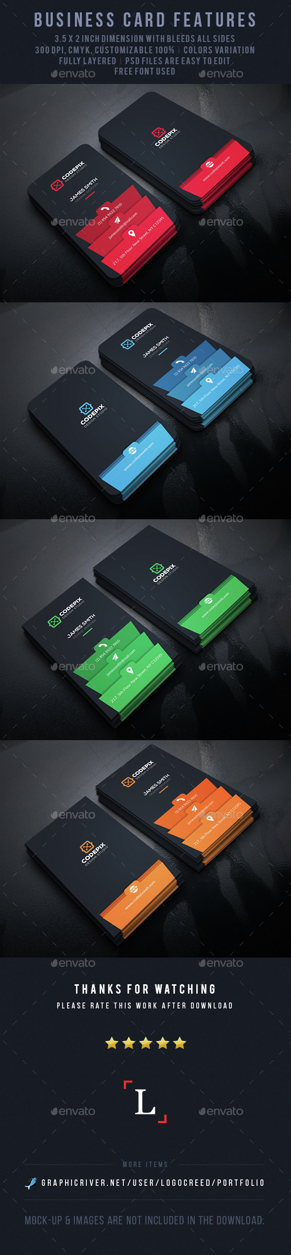 Modern Color Business Card - Business Cards Print Templates