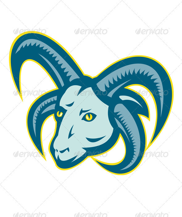 Manx Loaghtan Sheep Ram Head Mascot - Animals Characters