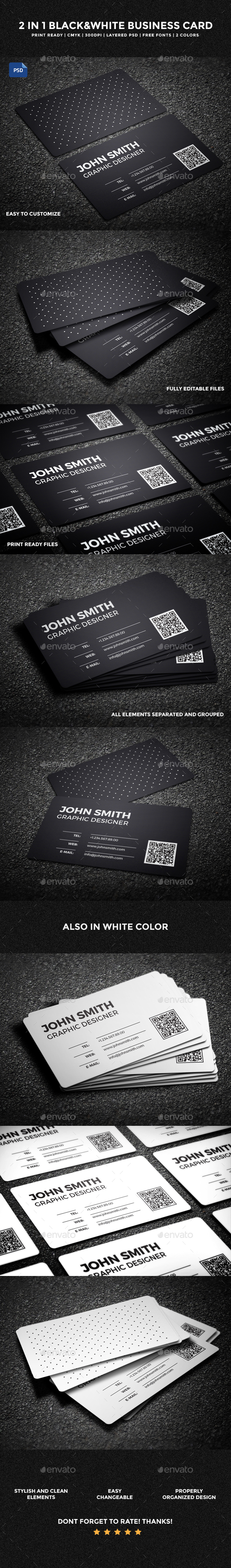 2 in 1 Black & White Business Card - 59 - Creative Business Cards