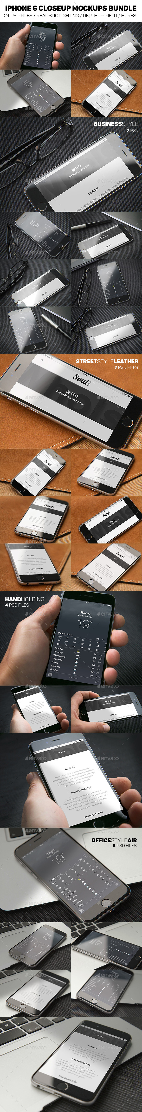 iPhone 6 Closeup Mockups Bundle - Mobile Displays