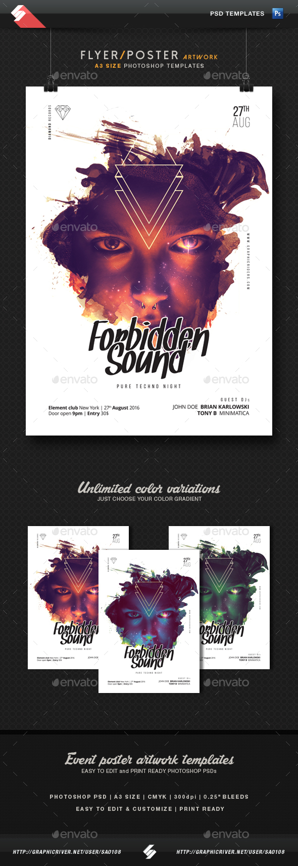 Forbidden Sound - Party Flyer Template A3 - Clubs & Parties Events