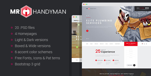 Mr.Handyman – Plumber, Carpenter, Roofing, Renovation, etc. PSD template