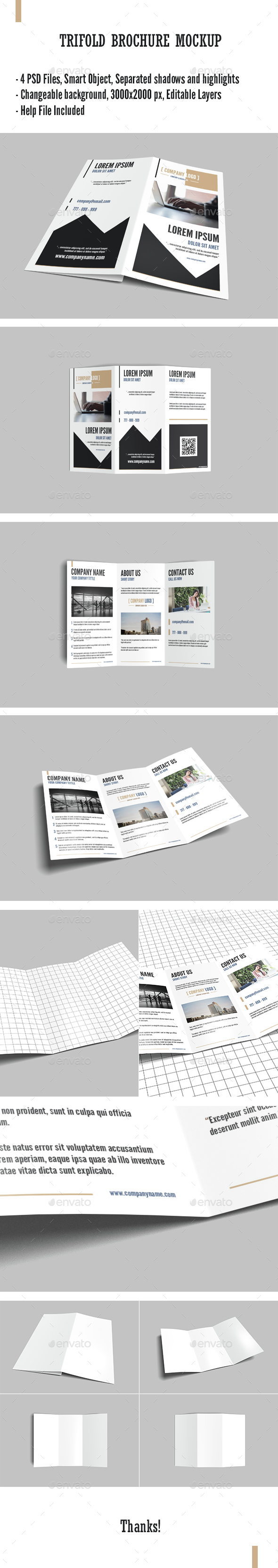 Trifold Brochure Mock-Up - Product Mock-Ups Graphics