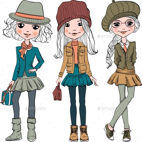 Set of Fashion Hipster Girls - People Characters