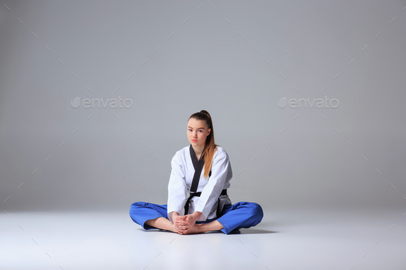 The karate girl with black belt - Stock Photo - Images
