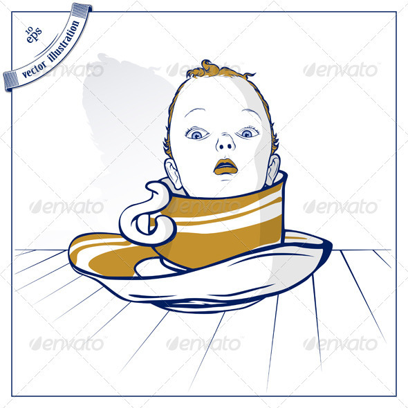 Baby Child On Coffee Cup - People Characters