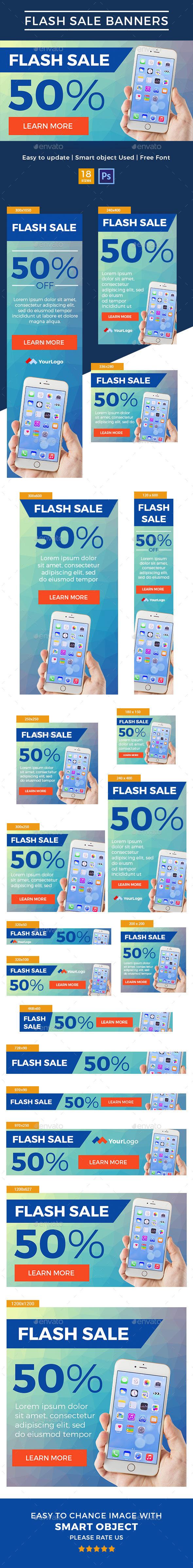 Flash Sale Web Banner - Banners & Ads Web Elements