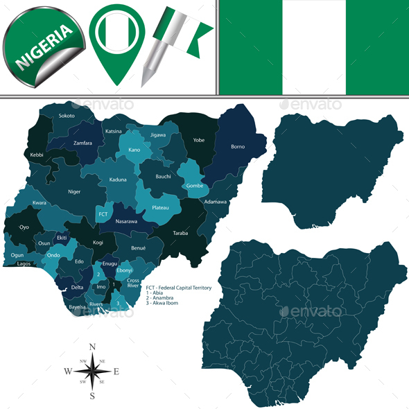 Map of Nigeria with Named States - Travel Conceptual