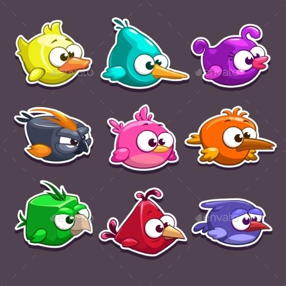 Cartoon Birds Stickers - Animals Characters