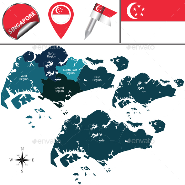 Map of Singapore with Named Regions - Travel Conceptual