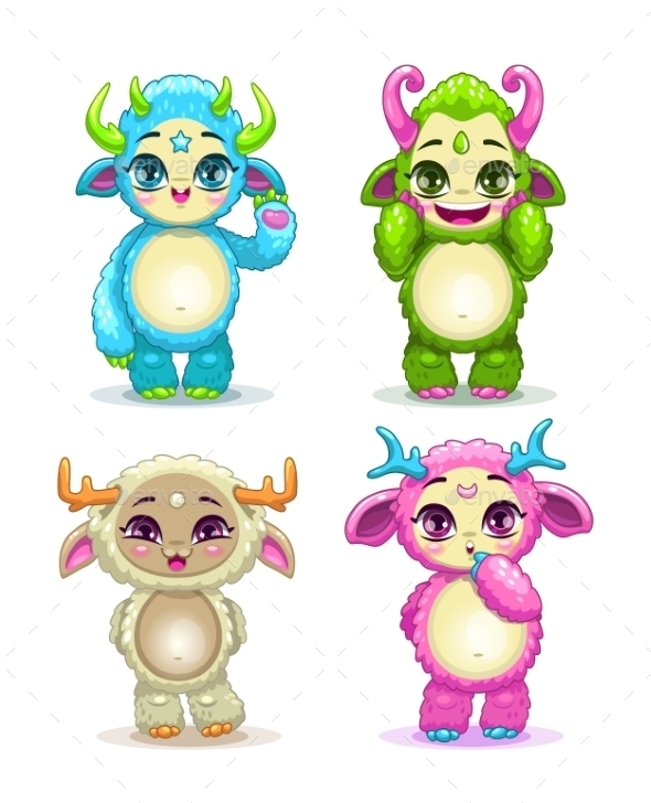 Cartoon Fluffy Baby Monsters Set - Monsters Characters